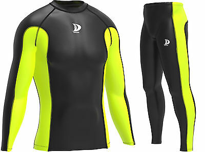 New Mens Full Sleeve Compression Shirts Running Tops Training Base Layers • 10.99£