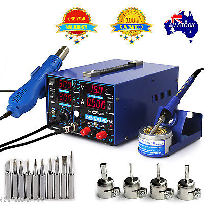 AU219.98 • Buy 3in1 FOR YIHUA853D 3A DC POWER SUPPLY HOT AIR GUN SOLDERING REWORK STATION OZ