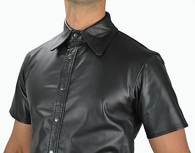 AU159.98 • Buy AW-665 Real & Soft Nappa Leather Shirt Leather Shirt  Leather Police Uniform. L