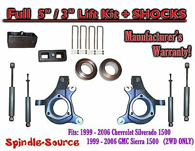 $404.25 • Buy 1999 - 2007 Chevy Silverado GMC Sierra 1500 Spindle 5  Lift Kit 5  / 3  + SHOCKS
