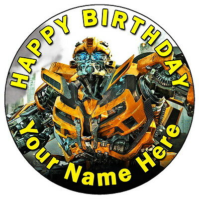 Transformers Bumblebee - 7.5  Personalised Round Edible Icing Cake Topper • 3.49£