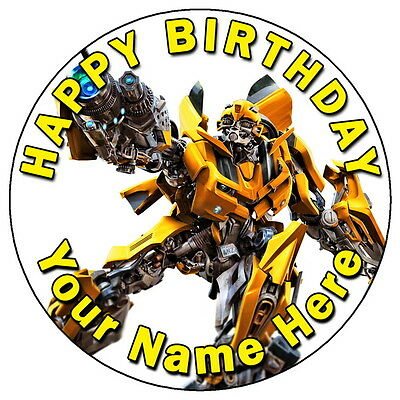 Transformers Bumblebee Party - 7.5  Personalised Round Edible Icing Cake Topper • 3.49£