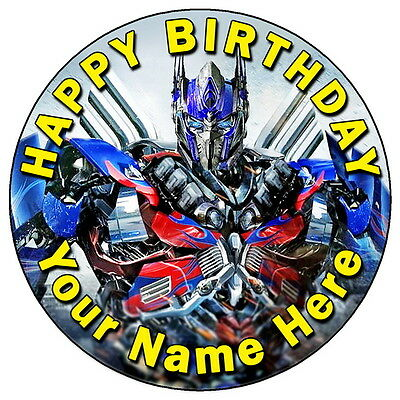Transformers Optimus Prime - 7.5  Personalised Round Edible Icing Cake Topper • 3.49£