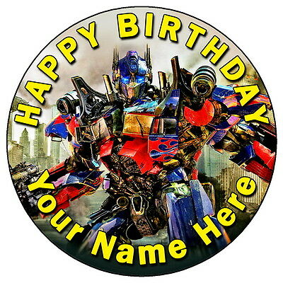 Transformers Optimus Party - 7.5  Personalised Round Edible Icing Cake Topper • 3.49£