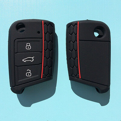 AU8.70 • Buy SILICONE FLIP CAR KEY COVER For VW VOLKSWAGEN MK7 GOLF-BLACK