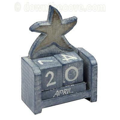 Small Wooden Starfish Perpetual Calendar - Shabby Chic - Gift Box - Fast Post! • 12.25£