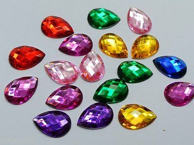 250 X High Quality Teardrop / Pear Rhinestones Beads 8mm X 5mm ~BUY 3 GET 1 FREE • 1.89£