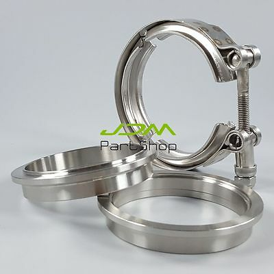 AU31.99 • Buy 3.0  Inch 76mm Stainless Steel Exhaust Pipe V-Band Clamp 2 Flanges Universal Kit