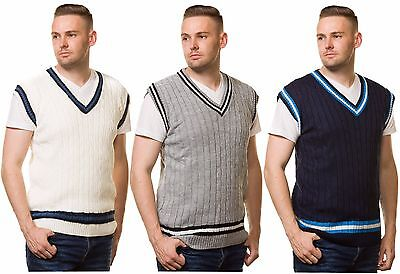 $15.36 • Buy Mens Cricket Jumper V Neck Sleeveless Casual Wear Cable Knitted Tank Top S To XL
