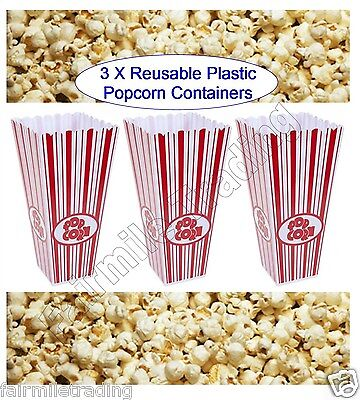 3X Reusable Novelty Plastic Popcorn Boxes Tub Carton Container Movie Party Treat • 6.39£