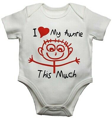 I Love My Auntie This Much Funny Personalised Baby Vest Bodysuit Grow 2Personal • 7.99£