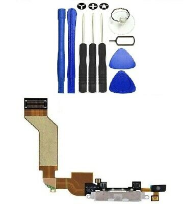 IPhone 4S Data SYNC Charging Block Port Dock Flex Cable Mic White With Tools UK  • 1.90£