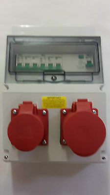 £86.99 • Buy 3 Phase 16A&32A 5 Pin RCD Industrial 415V CEE Sockets.Wall Mounted Distro Board.