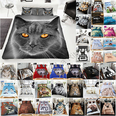3d Animal Print Duvet Cover Set New Bedding Pillowcases King Double Single Size  • 17.99£