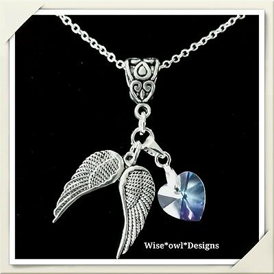 £7.99 • Buy Guardian Angel & Crystal Heart Necklace. Sterling Silver Chain Option & Gift Box