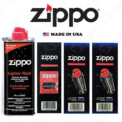 $6.85 • Buy Zippo 4 Oz Fuel Fluid And 3 Value Pack (12 Flints & 1 Wick) Combo Set