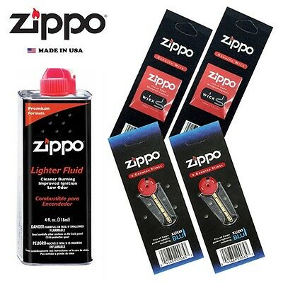 $7.25 • Buy Zippo 4 Fl Oz Fluid Fuel And 2 Vulet Pack ( 12 Flints + 2 Wick ) Gift Set Combo