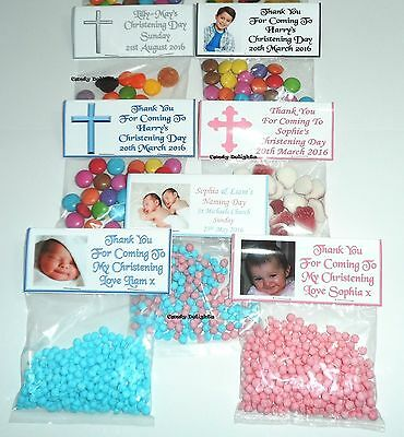 20 Personalised Sweet Bag WRAPPERS Christening Day Favours POSTED 1st CLASS • 5.35£