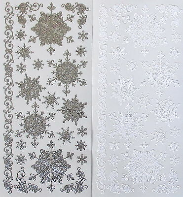 £1.06 • Buy Mixed SNOWFLAKES PEEL OFF STICKERS Small Large Tiny Border Corners