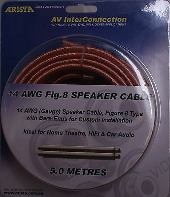 AU14.50 • Buy 5m 14 AWG Gauge Figure 8 Speaker Cable 0.12mm Wires