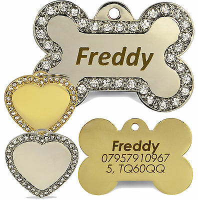 Engraved Diamante Bling Pet ID Dog Tags, BOLD Contrasting Text, Heart/Bone Tag • 2.89£