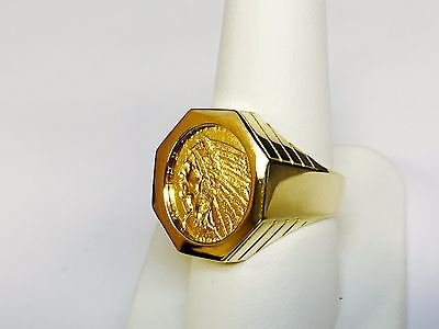 £1160.27 • Buy GENUINE INDIAN HEAD 2 1/2 DOLLAR GOLD COIN In 14K GENTS RING MOUNTING