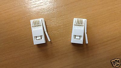 X 2 WHITE BT REPLACEMENT TELEPHONE PLUG CRIMP 4 PIN CONNECTOR CABLE WIRE BT431 • 1.79£