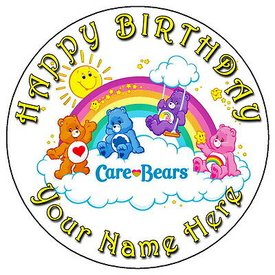 Care Bears Party - 7.5  Personalised Round Edible Icing Cake Topper • 3.49£