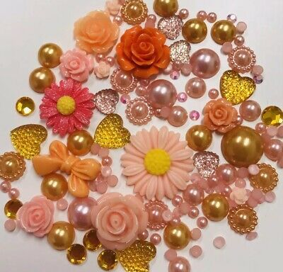 20g Coral+Orange Pearls/Roses/Gem Flatback Kawaii Cabochons Decoden Craft Kitsch • 2.79£