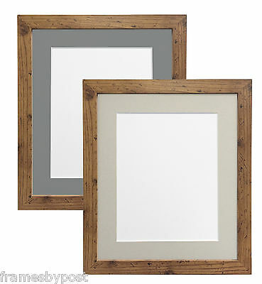 £11.28 • Buy Rustic Oak Photo Picture Frames With Light Or Dark Grey Mounts Multiple Sizes H7