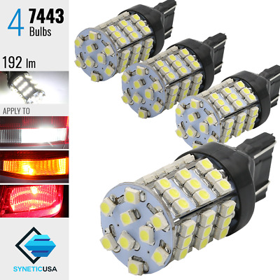 $9.99 • Buy 4x 7443/7441 Brake Tail Stop Lights Xenon 6000K White 54-SMD 3528 Chip LED Bulbs