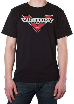Victory Motorcycle Mens Logo Color Badge T-Shirt Black White Grey Top Shirt • 29.99£