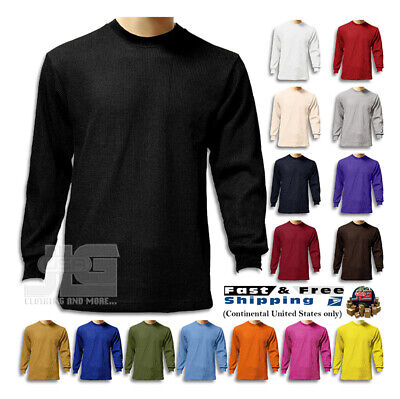 $15.99 • Buy S New Men Heavy Weight Plain Thermal Long Sleeve Waffle Shirts Colors Size 6XL