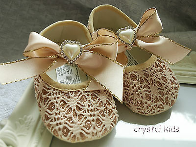REDUCED ** Baby Girls Shoes Sparkly Gold Christening Party Pram Shoes 3 Sizes • 5.99£