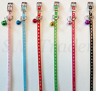 Cat Collar PU Leather Adjustable With Bling Bell Pet Puppy Kitten Safety Collars • 2.99£