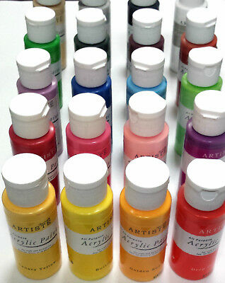 Docraft Artiste Craft Acrylic Paint Bottles 88 Colours.  Matt, Metallic Or Pearl • 1.99£