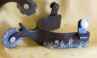 $460 • Buy Desert Scene Western Spurs/ Single Mounted /Jepperson/USA