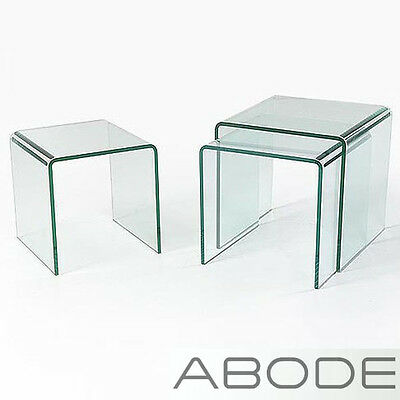 Glass Nest Of 3 Side Tables Coffee Set Curved End Living Bent Table Edge Three + • 109.99£