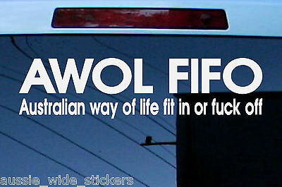 AU6.90 • Buy New 300mm Funny Aussie Custom Car Stickers AWOL FIT IN For Patriotic BNS 4x4 UTE