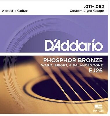 $ CDN9.07 • Buy D'Addario EJ26 Phosphor Bronze Acoustic Guitar Strings 11-52 Custom Light