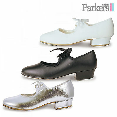 Roch Valley Tap Shoes Girls Low Heel Silver White Black Pu Dance  5c - 8a Lhp • 18.23£