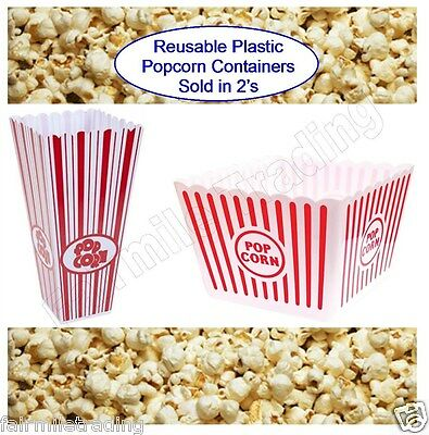 Tall Or Jumbo Large Reusable Novelty Plastic Popcorn Carton Box Tub Container • 4.89£