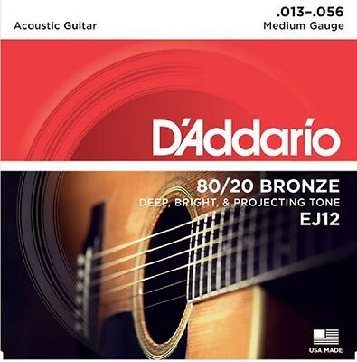 $ CDN8.94 • Buy D'Addario EJ12  Acoustic Guitar Strings 80/20 Bronze Medium 13-56