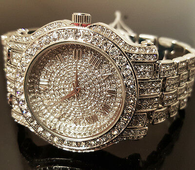 $ CDN31.70 • Buy Men Hip Hop Iced White Gold Techno Pave Bling Simulated Diamond Rapper Watch