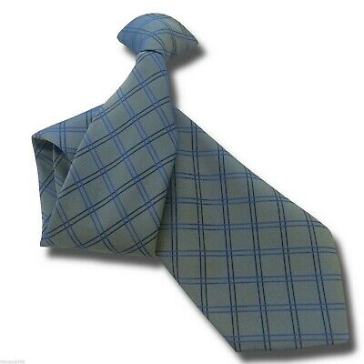 £10.99 • Buy Pearlescent Blue Green Mens Clip On Tie Navy+ Royal Blue Check Pattern Clipper