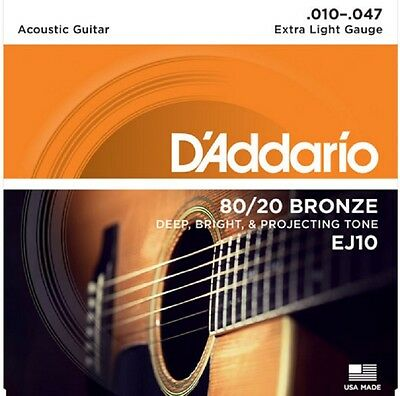 $ CDN8.91 • Buy D'Addario EJ10 80/20 Bronze Acoustic Guitar Strings Extra Light 10-47