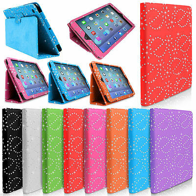 Case For IPad & Tablets Crystal Sparkle Bling Leather Cover Folding Folio Stand • 1.99£