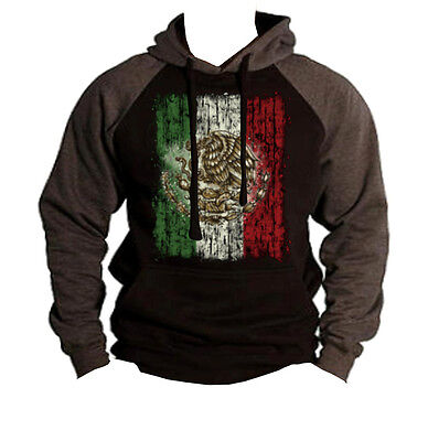 $23.99 • Buy Men's Mexico Flag Raglan Charcoal Gray Black Hoodie Mexican Sweater Boxing Mma
