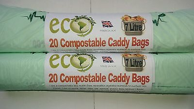 £3.39 • Buy 20 X 7L Caddy Liner Compostable Biodegradable Food Waste Kitchen Bin Bags