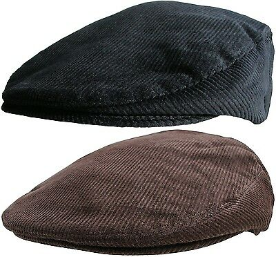 Mens Corduroy Flat Caps Traditional Peaked Newsboy Hat Country Style Cord Cap • 11.99£